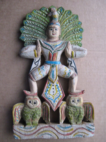 ANTIQUE Carved wood Buddha temple wall sculpture BURMA Myanmar very FINE