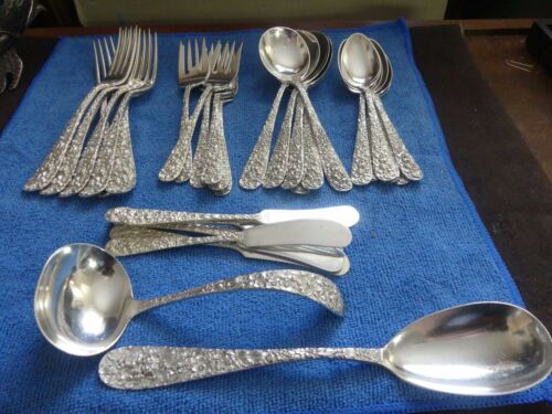 Rare Stieff Sterling Rose Pattern Flatware 38 Pieces No Monogram