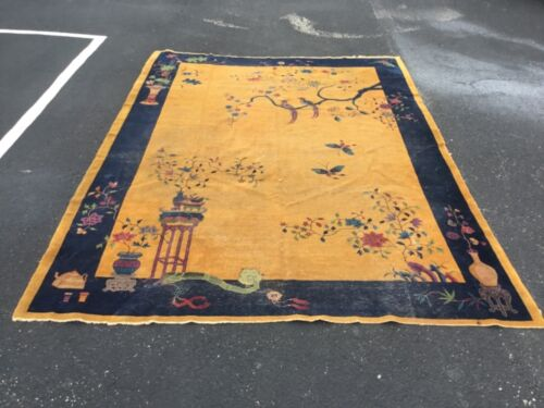 "LG Chinese Art Deco Walter Nichols rug - 10'6"" X 13'3"" - needs a good Cleaning"