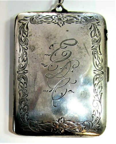 Antique Victorian sterling silver coin holder dance card compact chatelaine WOW