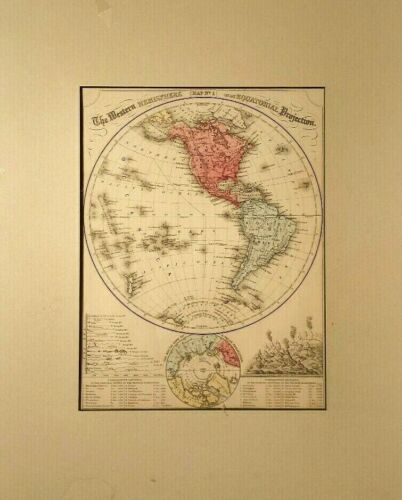 ORIG 1874 ANTIQUE MAP of W HEMISPHERE HAND COLORED MITCHELL'S MODERN ATLAS N/R!