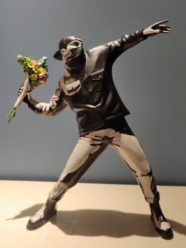 Banksy Flower Thrower Medicom Toy x Brandalism Black And Grey Edition Replica