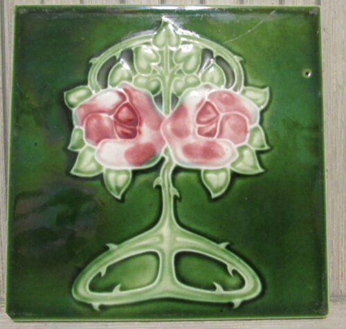 Antique T&R Boote England Art Nouveau Green Rose Tile C Rennie Macintosh style