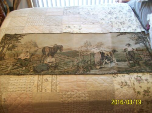 """Tapestry Wall Hanging Antique Machine Woven Dutch Farm Couples 5'5"""" x 1'9"""""""