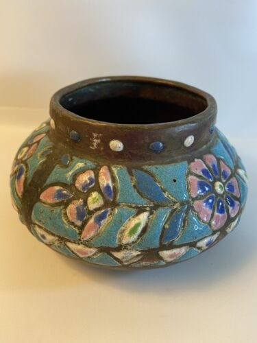 antique Syrian ceramic on copper hand made bowl