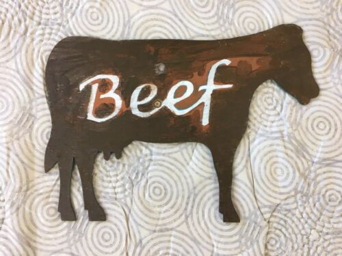 Vintage Vermont Primitive Hand Painted Folk Art Beef Cow Wood Cutout Farm Sign