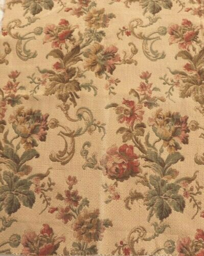 """Antique 19thC French Floral Jacquard Heavy Cotton Tapestry Fabric~25"""" X 20"""""""
