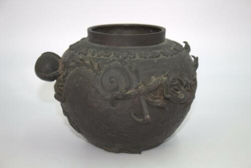 Japanese Antique old Copper Vase Dragon and paulownia design BV247