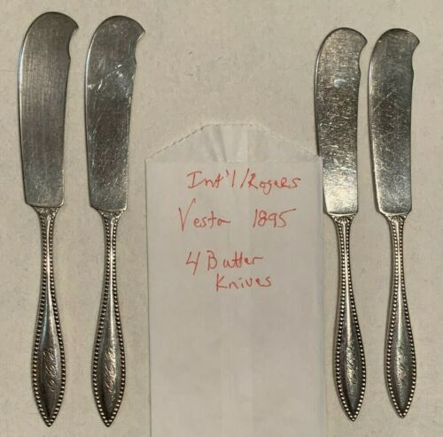 International Rogers VESTA 1895 Lot 4 Silverplate Beaded Butter Knife Spreaders