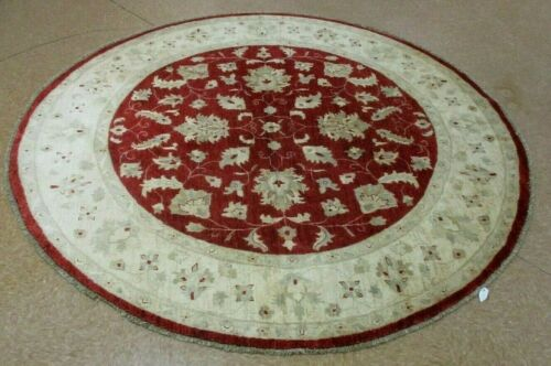"""8'3"""" x 8'3"""" Tribal Hand Knotted Round Area Rug No: H 140007"""