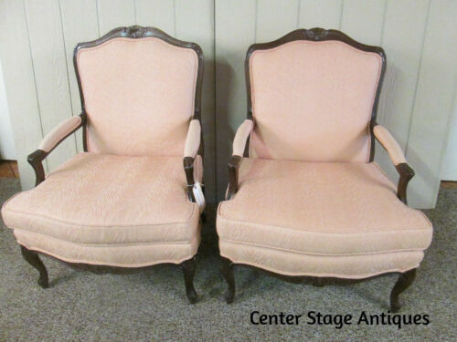 58119 PAIR SHERRILL FRENCH BERGERE UPHOLSTERED ARM CHAIRS