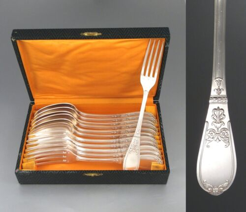 Antique French Neoclassic / Empire Style, Silver Plate Flatware Set, 12 pcs