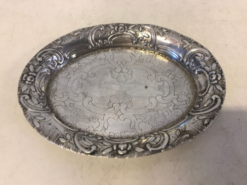 Antique Likely German 800 Silver Repousse & Engraved Small Tray / Dish
