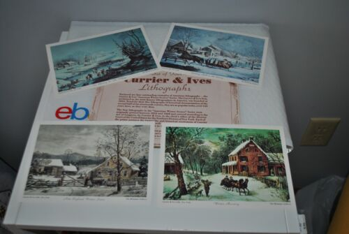 Vtg CURRIER & IVES Lithographs S/4 American Winter Scenes W/Original Packaging