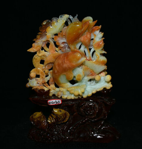 """14.8"""" Natural Xiu Jade Jadeite Carved Delphinus delphis dolphin Shell Statue"""