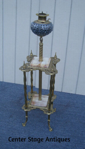 61706  Antique Victorian Piano Lamp  Brass and Onyx