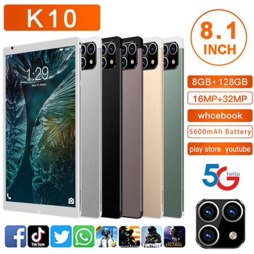 K10 8.1'' HD 5G Smart Tablet PC Android 11.0 System 8G+128G w/ 3 Lens Camera UK