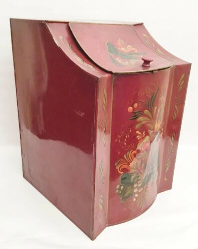 "BIG Toleware Tin Masterpiece Box ""AMAZING Red"" Terrific Size and Shape"