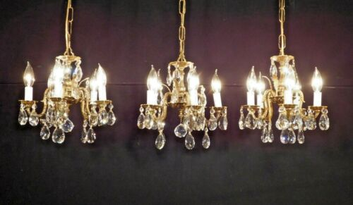 DARLINGEST Antique Petite French 5 Lite Cut Lead Crystal Chandelier (3 Avail.)