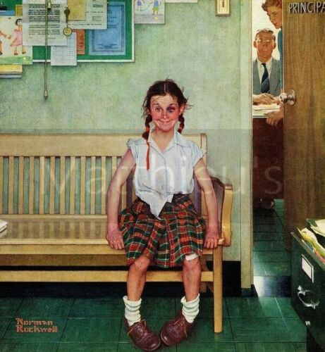 Norman Rockwell-Shiner, Outside The Principal's Office, Canvas/Paper Print