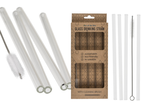 Set of 4 Glass Drinking Straws with Cleaning Brush - Eco Friendly Reusable