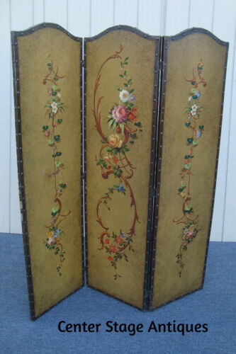 61933  Hand Painted Dressing Screen Room Divider