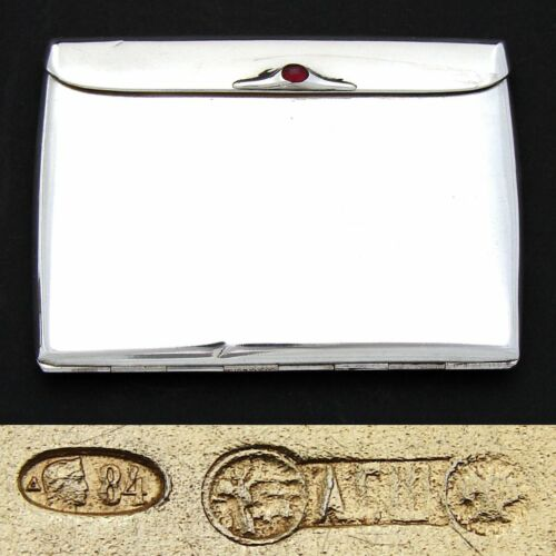 Elegant Antique Russian Hallmarked Silver Cigarette or Card Case, Jeweled Clasp