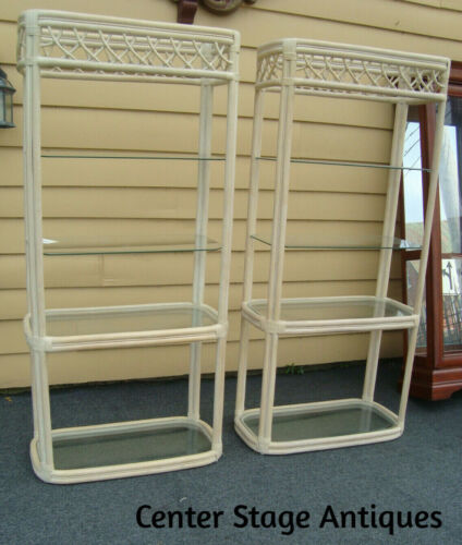 55794   Pair QUALITY  Bamboo Rattan Wicker Open Bookcase Curio Cabinets