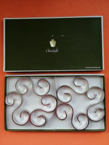Pair Christofle Gallia Hot Plate Trivets Coasters BOTTLE France SILVER PLATED