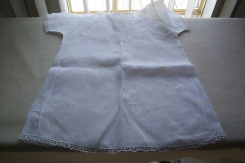 Vtg Baby  Dress Gown Sheer Batiste or Voile Cotton Fabric Tatted Lace REPURPOSE