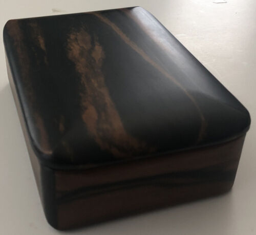 Hand Crafted Ebony Wood Trinket Jewelry Gift Box w/ Lid, Signed, Immaculate