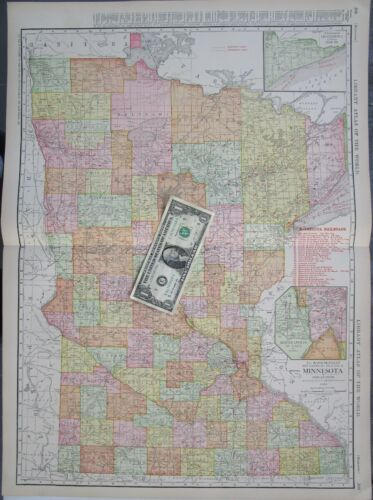 MN 1912 MINNESOTA RAILROAD Wall Map MISSISSIPPI HILL CITY & WESTERN RR MESABE SO