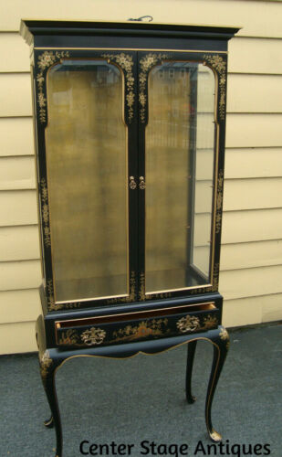 61270   DREXEL ??  Oriental Secretary Desk w/ Bookcase Top + plate glass shelves