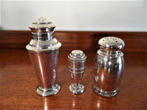 3 x Mixed Antique Vintage Silver Plated Pepper Pepperette Shakers Hecworth Devon