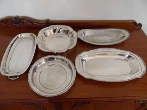 5 Pce Vintage Silver plate serving tray bowls Rustic Wedding party Hecworth WMF