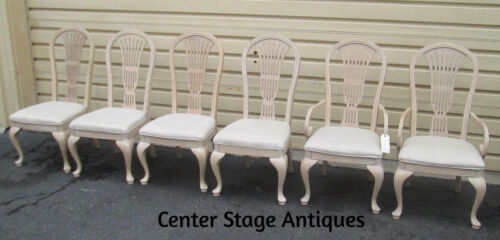 51354 T4:   Set 6 White Wash Dining Room Chairs