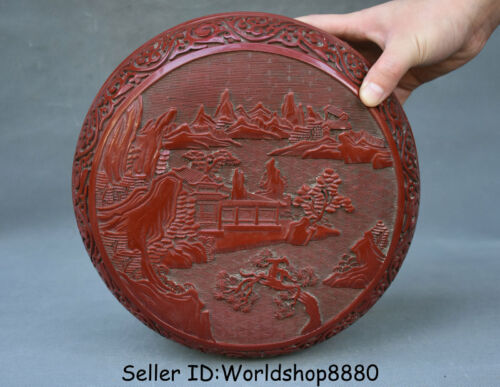 """10"""" Qianlong Marked Old Red Lacquerware Dynasty landscape Jewelry box jewel case"""