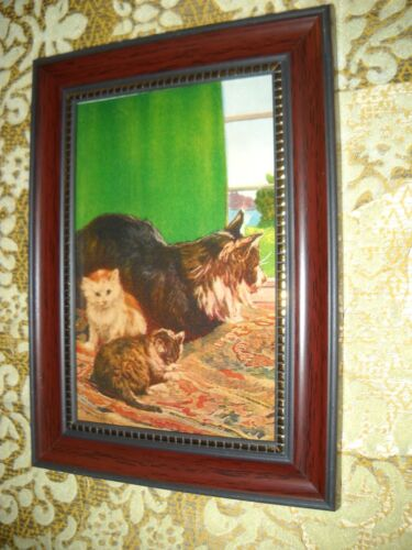 MOTHER CAT 2 KITTENS 4 X 6 brown framed animal picture Victorian style art print