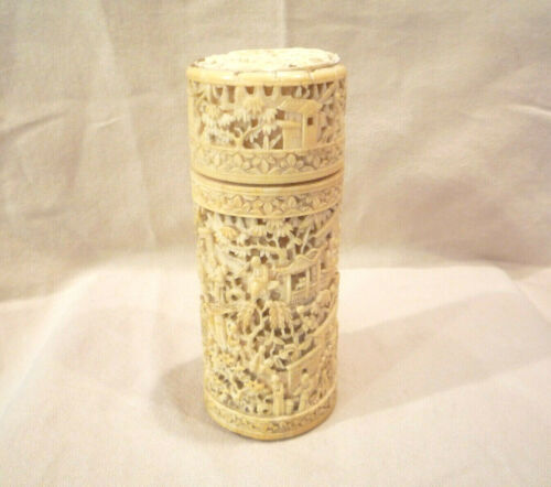 Polished Bovine Cow Bone Vintage Antique Intricate Carving 2 piece Container