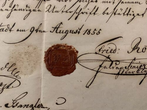 Wax Sealed Paper Document  1855
