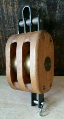 Small Vintage Wooden Ship's Pulley With Two Brass Wheels