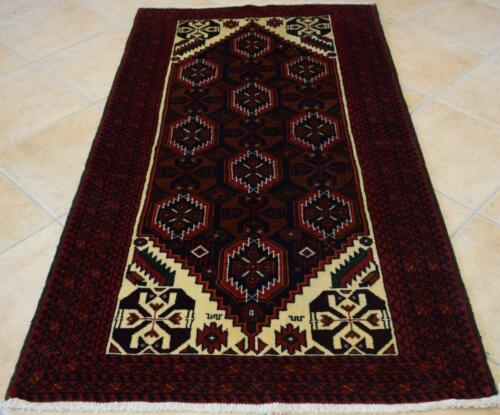 3'4 x 6'2 Fine Balouch Bird Design Nomad Carpet Hand Knotted Wool Area Rug