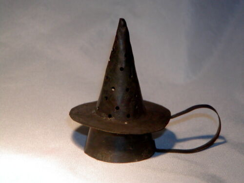 Primitive Early 18th Century Style Brim Witches Hat Pierced Tin Candle Snuffer