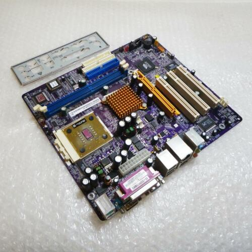ECS KM400-M Rev 1.0B Socket 462 Motherboard System Board with CPU and Backplate