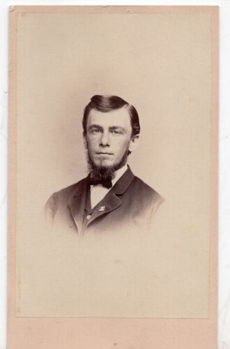 Vintage Cabinet Card Photo Handsome Young Bearded Man Bangor Maine