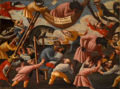 oil  painting  on canvas-   Grotesque Scene with Animals and Stylised Figures