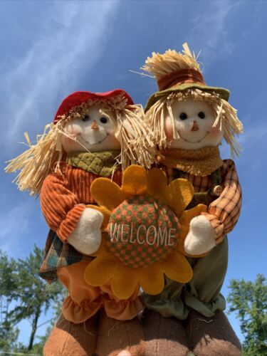 """Vintage Primitive WELCOME SCARECROW Couple SUNFLOWER Doll Stand 14""""h ❤️sj11h5s"""