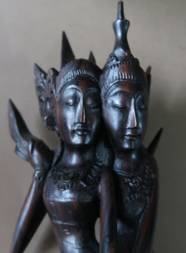 **Vintage 29.5cm Tall Hand Carved Balinese Hard Wood Sculpture