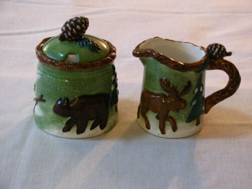 Woodland Lodge Moose and Bear Cream Pitcher and Lidded Sugar Bowl Set w/Spoon