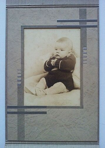 c1930-40 Old Studio Photo Tri-Fold Mat Board, 3 Month Old Baby